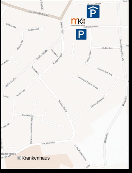 Kartenausschnitt der Innenstadt Vechta